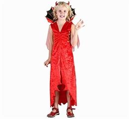 -Strój    Diablica  ( sukienka, kołnierz zpeleryną, rogi) roz120/130 cm GoD hallow