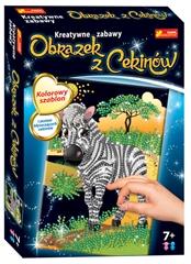 Cekinowy obrazek Zebra