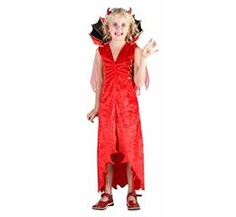 -Strój    Diablica  ( sukienka, kołnierz zpeleryną, rogi) roz130/140 cm GoD hallow