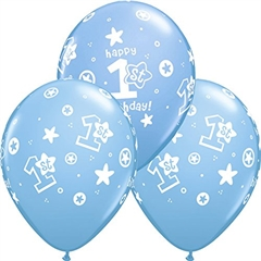 Balon QL 11   z nadr. 1st Happy Birthday pastel niebieski 25szt 41186 God