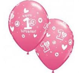 Balon QL 11   z nadr. 1st Happy Birthday Pastel różowy 25szt 41185 God