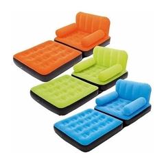 Fotel-materac flokowany z oparciami, 191x97x64cm, 3 kolory(niebieski, zielony, pomarańczowy) 67277