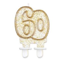 Świeczka cyferka 60,złoty kontur GoD