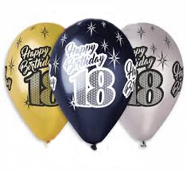 Balony Premium   Happy Birthday 18  , metaliczne, 12   / 6 szt.GoD