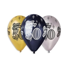 Balony Premium   Happy Birthday 50  , metaliczne, 12   / 6 szt.GoD