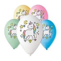 Balony Premium   Jednorożec - magiczna noc  , nad. kolorowy, 12   / 5 szt.GoD