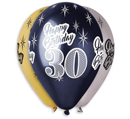 Balony Premium  quot;Happy Birthday 30 quot;, metaliczne, 12 quot; / 6 szt.GoD