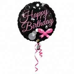 Balon Anagram 18 apos; apos; Happy Birthday czarny z kokardą 3334701
