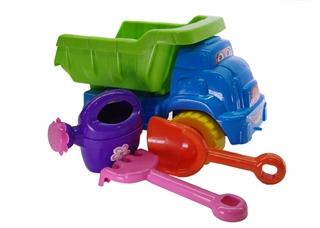 -Zestaw do piasku Nr2 błękitny/jasno zielony(samochód Smile,konewka,łopatka,grabki)
