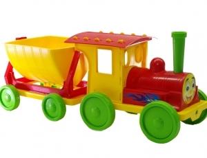 -Pociąg  Konstruktor  z przyrządami do piasku Nr1 czerwony