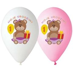 Balony Premium   Moje 1 Urodziny  , nad. kolorowy, dla dziewczynki GoD