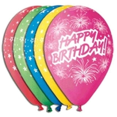 Balony Premium   Happy Birthday (fajerwerki)  , 12  / 5 szt.