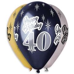 Balony Premium   Happy Birthday 40  , metaliczne, 12   / 6 szt.