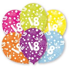 996542 Balony Lateksowe z cyfra 18 nadruk na całej powierzchni 27,5cm Amscan 6szt