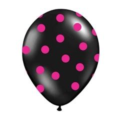 Balon 30 cm Czarne w rózowe Kropki 6szt