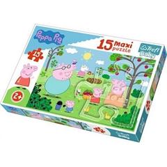S.CENA Puzzle -   15 Maxi   - Peppa w ogrodzie