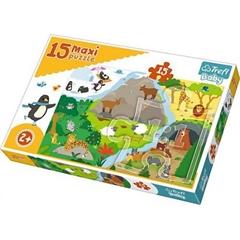 S.CENA Puzzle -   15 Maxi   - Zwierzątka iichdomki / Trefl Baby
