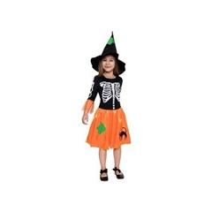 Strój dla dzieci   Czarownica szkieletor   (sukienka, kapelusz) rozm. 110/120cm