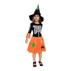 Strój dla dzieci   Czarownica szkieletor   (sukienka, kapelusz) rozm. 120/130cm