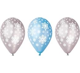Balony Premium   Płatki śniegu  , metaliczne, 12   / 5 szt.
