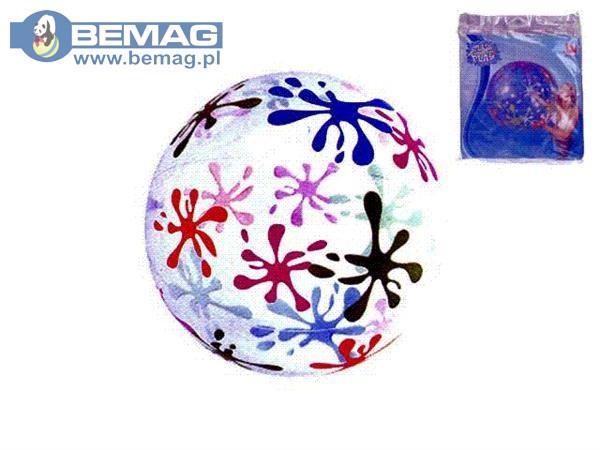 Piłka nadmuchiwana 122cm przeźroczysta w kleksy   Splash amp;Play Ball  , wiek 3+