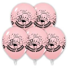 Balony urodzinowe roczek różowe B105 30cm 5szt.