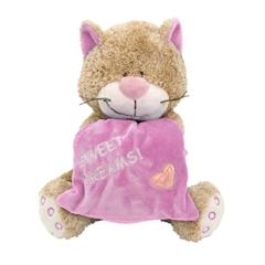 Kot rozowy z poduszka 18cm 10922