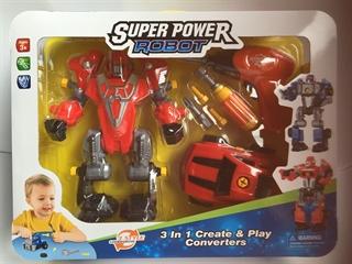 Robot i autko do skręcania i wiertarka na baterie,2xAAA,wym.robota 23x17,wym.autka 14x9cm, wym wbx 41x31x9cm. HH