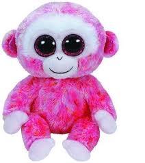 *Beanie Boos RUBY - red/white monkey