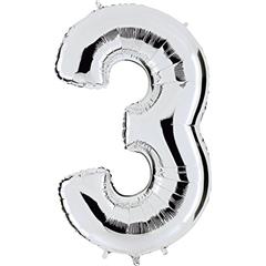 Balon Numer 3 Srebrny 093S