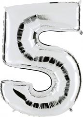 Balon Numer 5 srebrny 095S
