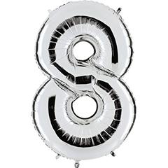 Balon Numer 8 srebrny 098S
