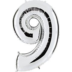 Numer 9 srebrny 099S