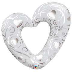 Balon foliowy 42 quot; QL HRT  quot;Hearts  amp; Filigree Pearl White quot;