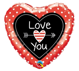 Balon foliowy 18 quot; QL HRT  quot;Love You Dots  amp; Arrows quot;