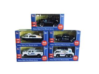 Auta policyjne, 36szt/disp, skala 1:64 AR