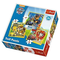 S.CENA Puzzle -   3w1   - Marshall, RubbleandChase / Viacom PAW Patrol