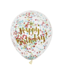 Balon 12     Happy Birthday - Kolorowe Konfetti  , transparentny, 6 szt.