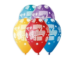 Balony premium hel Happy Birthday To You 13cali 5szt